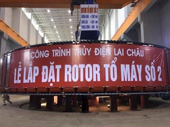 Lắp đặt thành công rotor tổ máy 2 Thủy điện Lai Châu
